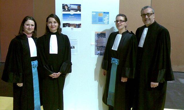 De gauche à droite : Mademoiselle Aurélie DELOUX, Madame Line ADDINK, Mademoiselle Géraldine LASCHINSKI et Monsieur Thierry TABART © Madame Line ADDINK