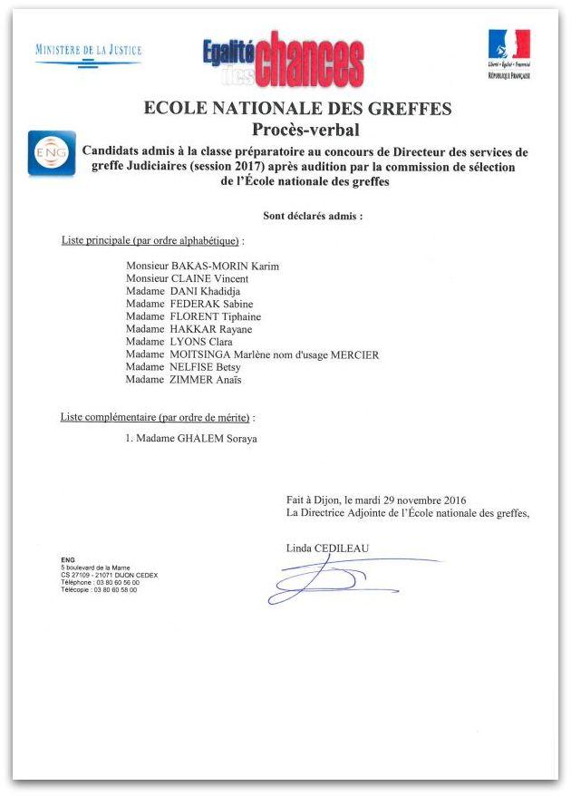 Liste admis classe préparatoire concours directeur des services de greffe (session 2017)