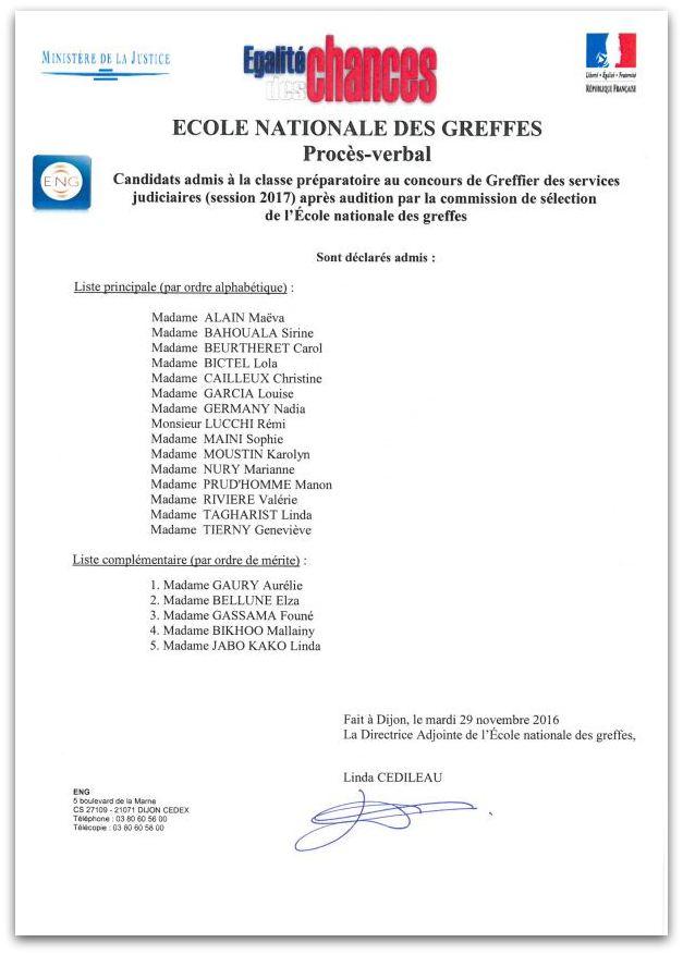 Liste admis classe préparatoire concours greffier (session 2017)