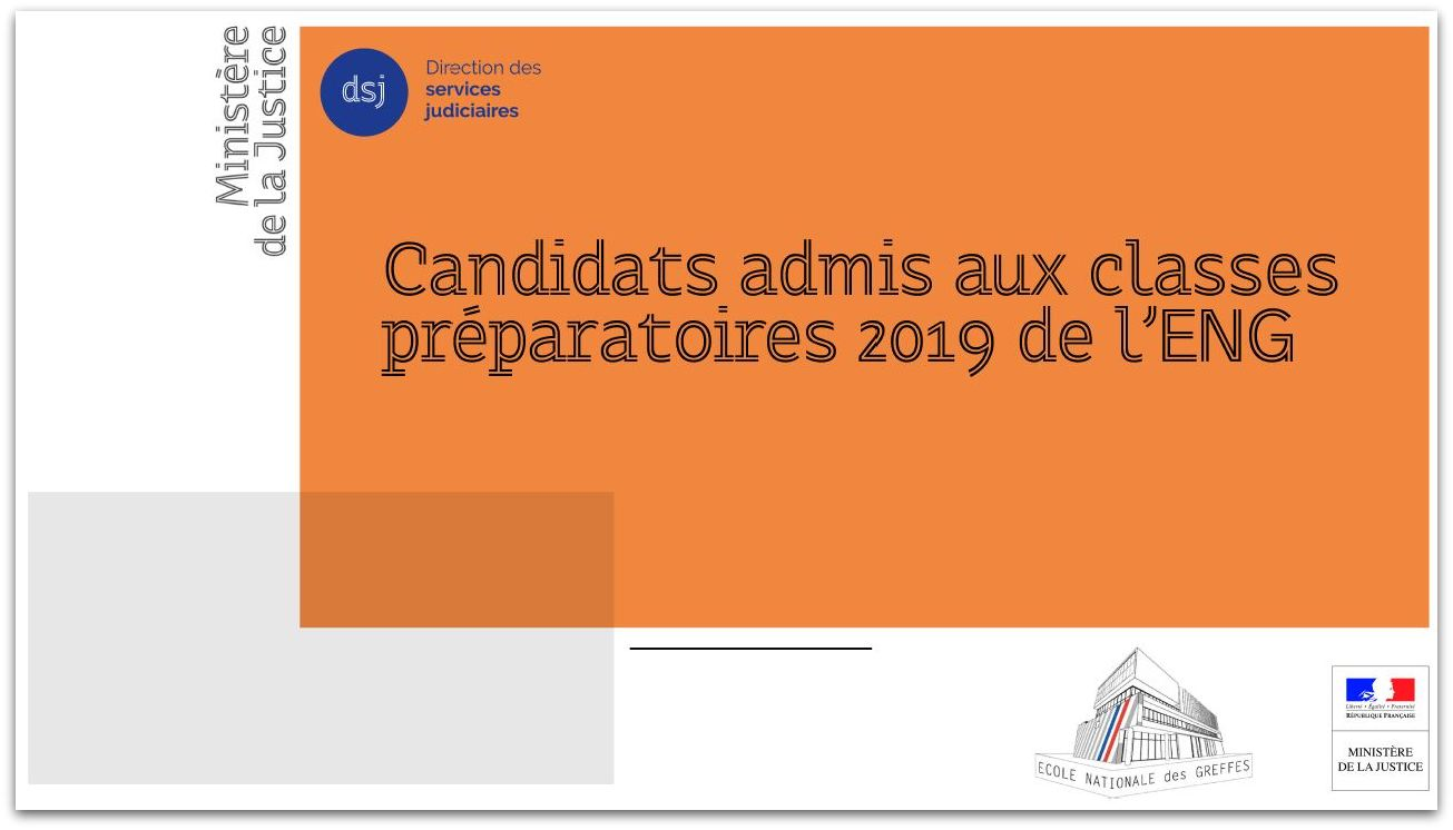 Classes préparatoires de l'ENG - session 2019