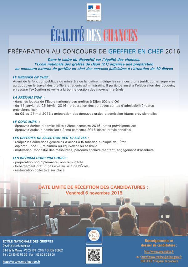 Affiche classe préparatoire greffier en chef ENG 2016