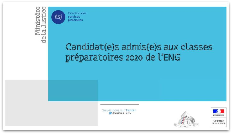 Classes préparatoires de l'ENG - session 2020