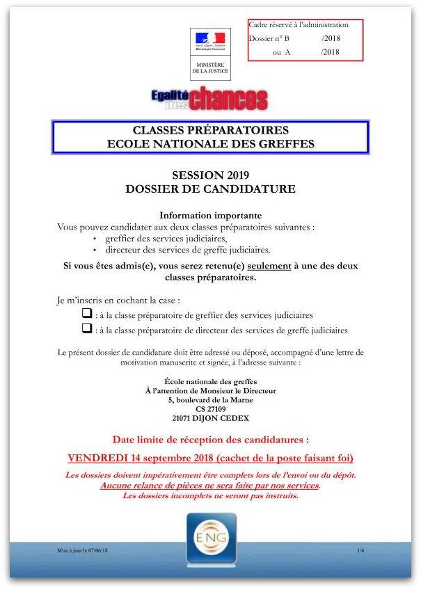 Dossier de candidature 2019