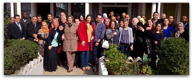 Photographie de groupe prise dans le patio de l'Ecole d'Alger - janvier 2016