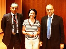 Monsieur Farzan Entezam, Chef du service informatique de l'ENG, Madame Conche Vega et Monsieur Ricardo G. Condo Diez, Magistrats au Ministère de la Justice