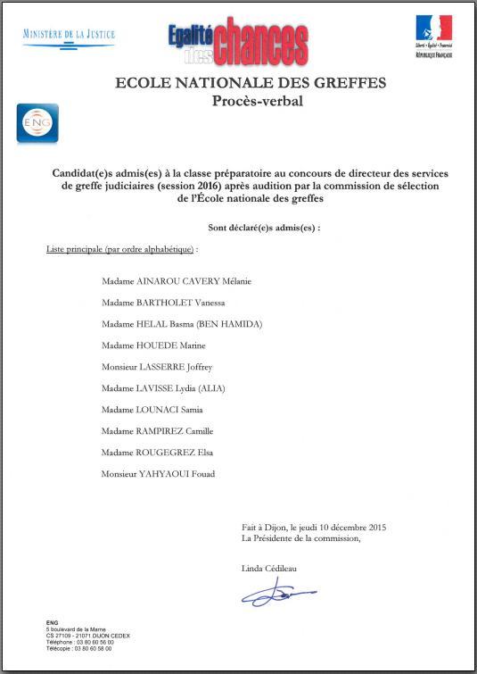 Liste des candidats admis à la préparation au concours de directeur des services de greffe judiciaires - session 2016